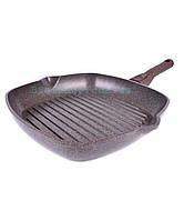 Граніт Браун Сковорода-гриль 28х28 см h6,5 см алюминий с антипригарным покрытием Биол
