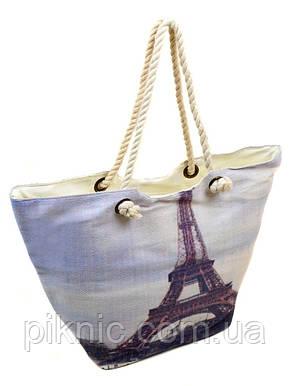 Сумка пляжная текстиль Париж. Большая женская белая тканевая сумка на пляж, фото 2