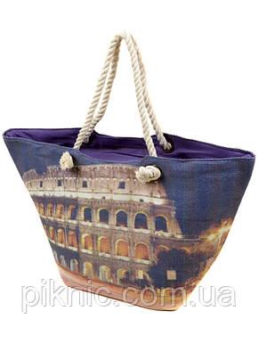 Сумка пляжная текстиль Колизей. Большая женская тканевая сумка на пляж, фото 2