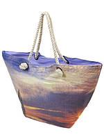 Сумка пляжная текстиль Фиолет. Большая женская тканевая сумка на пляж