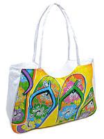 Сумка пляжная текстиль Шлепки. Большая женская тканевая сумка на пляж