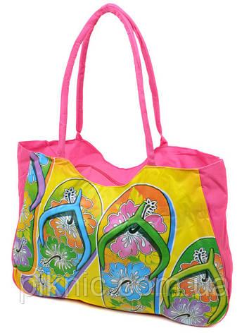 Сумка пляжная текстиль Шлепки. Большая женская тканевая сумка на пляж, фото 2
