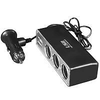 Разветвитель Lesko WF-0096 на три прикуривателя 12V с USB 5V для автомобиля зарядное устройство компактный