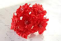 Декоративные цветы лилии (пуансетии) диаметр 5 см, красного цвета, фото 1