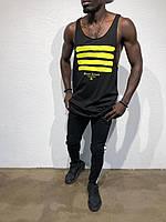 Майка мужская удлиненная Line Black 1917b черная, Турция (модная, стильная, молодежная,2018)