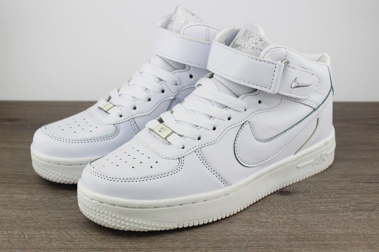 a93e87d522d Мужские кроссовки Nike Air Force 1 Mid White (Топ реплика ААА+) - Siwer
