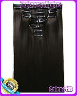 Комплект накладных прядей из 7-ми штук, наращивание волос, накладные пряди, прямые, длина - 55 см, цвет - №6В