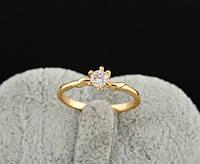 Позолоченное кольцо с фианитом код 309 р 16.5,18,19