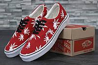 Кеды красные летние женские низкие Vans Vault Era LX OG Palm Leaf  Ванс Эра Пальмс
