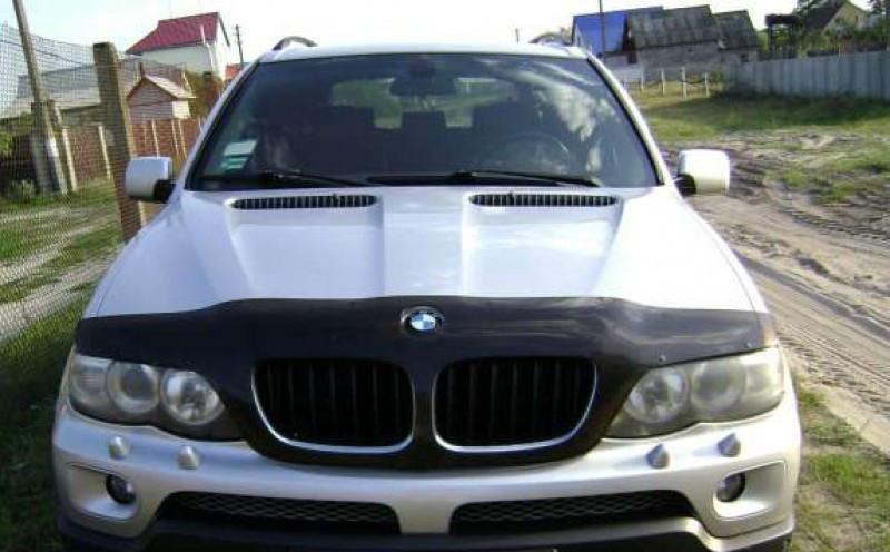 Дефлектор капота, мухобойка BMW Х5 Е53 2000 - 2004 / Без выреза под знак VIP