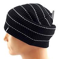 Мужские вязаные шапки утепленные флисом 56 по 62 размер теплые длинные чулок
