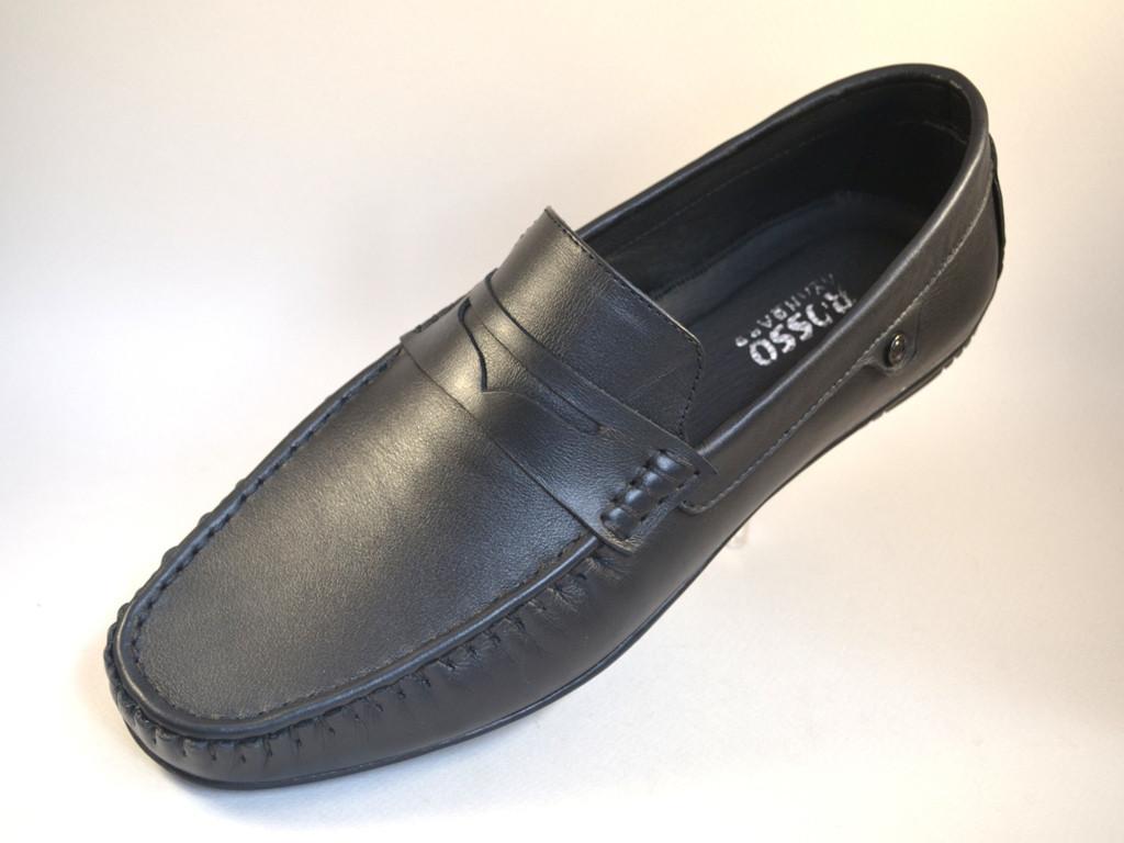 Мужские мокасины кожаные черные стильные весенняя обувь ETHEREAL Classic Black by Rosso Avangard