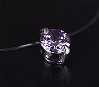 Украшение для шеи стильное камушек на леске (фиолетовый)