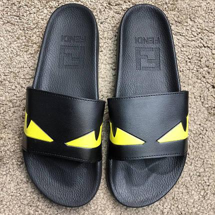 Шлепки Fendi Slide Sandals Monster Eyes Yellow Black (Топ реплика ААА+), 23101579296