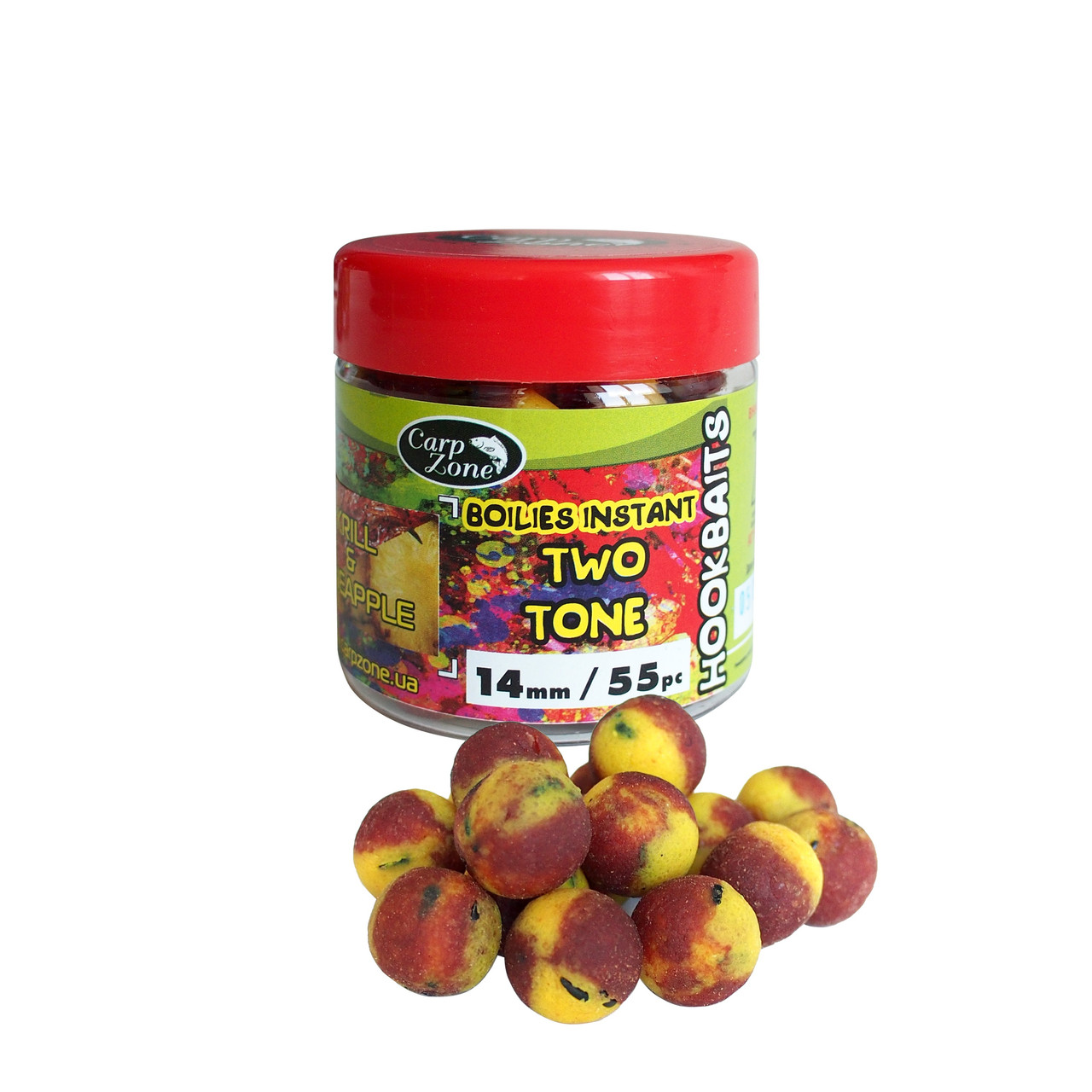 Бойлы насадочные вареные Boilies Instant Two Tone Hookbaits Krill & Pineapple (Криль Ананас)