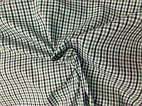 Рубашечная ткань Клетка Зеленая с бело-черной 5мм