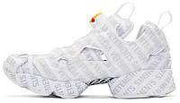 Женские кроссовки Vetements x Reebok Insta pump Fury Logo emoji White (Рибок Инста Памп, белые)