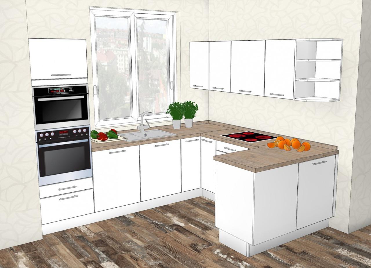 Изготовление белой кухни углом вариант V-22