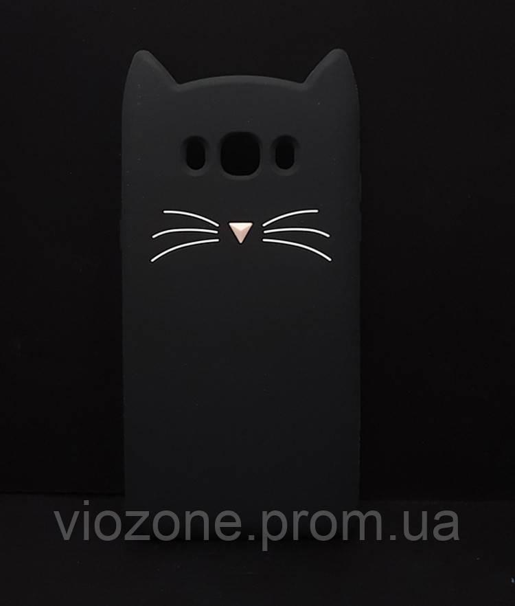 3d Чехол Бампер для Samsung Galaxy J7 2016 / J710  резиновый Чёрный Кот