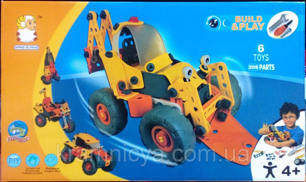 Пластиковый гибкий конструктор (6 моделей машин, 205 деталей), 2555-23