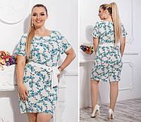 Новинка! Летнее платье с поясом ( арт. 110 ), ткань супер софт, принт голубая веточка на белом, фото 1