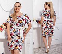 Новинка! Летнее платье с поясом ( арт. 110 ), ткань супер софт, принт красная роза на белом