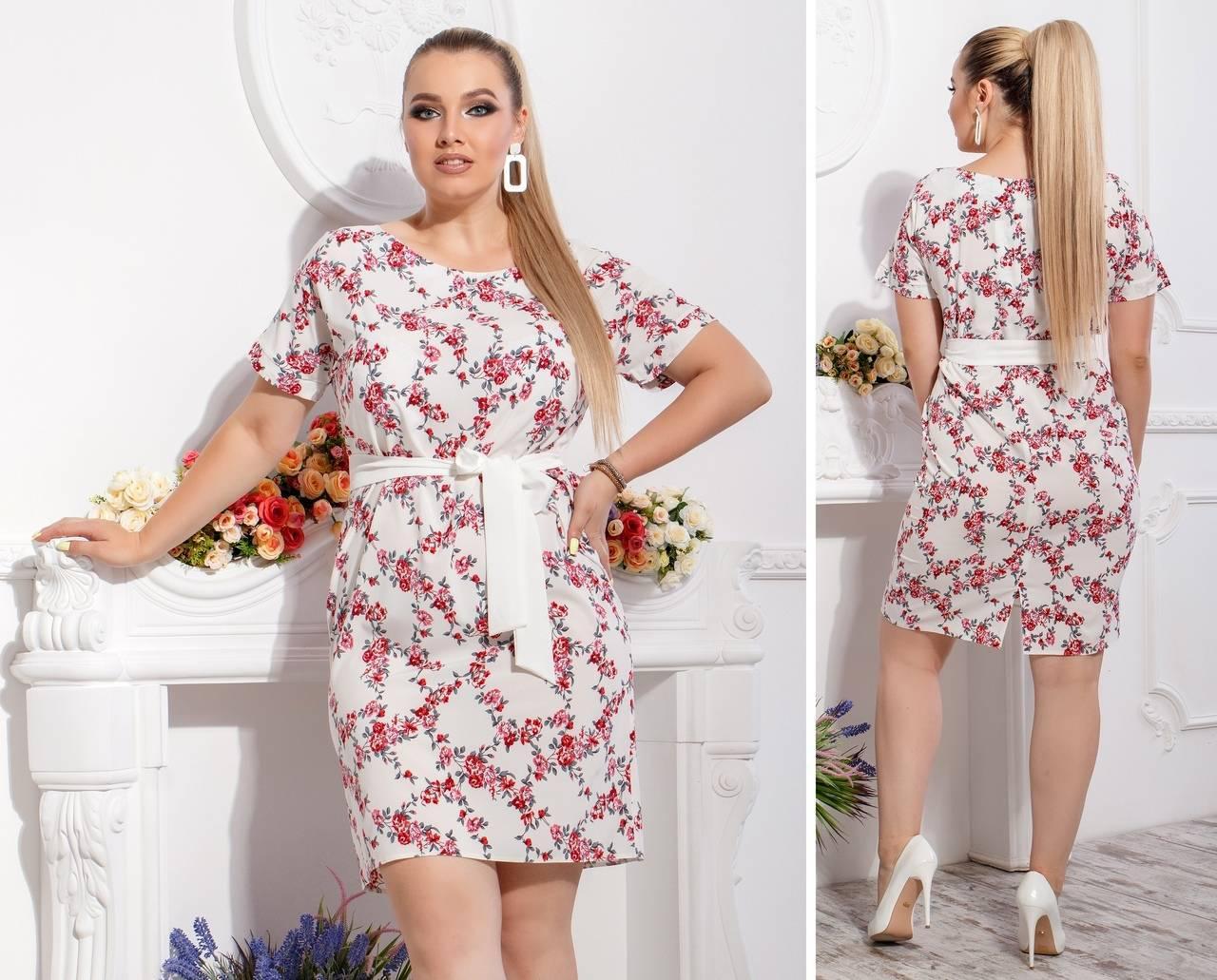 Новинка! Летнее платье с поясом ( арт. 110 ), ткань супер софт, красная веточка на белом
