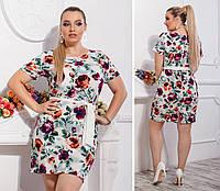 Новинка! Летнее платье с поясом ( арт. 110 ), ткань супер софт, принт бордовая роза на белом