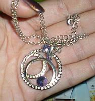 Ив роше бижутерия Набор Элегантных Украшений со Стразамицепочка+кулон+серьги фиолетовый камень