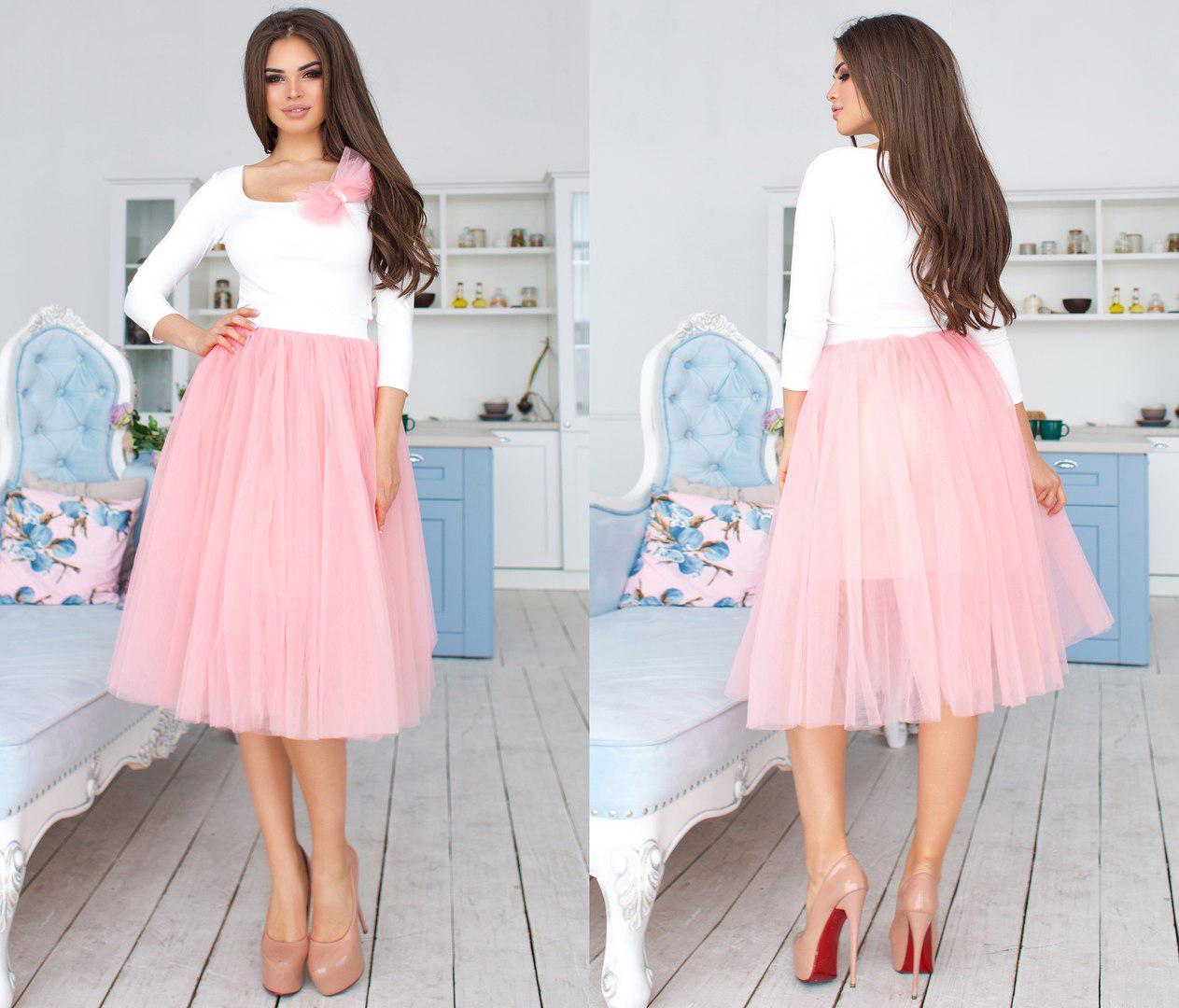 """Нарядный женский костюм-двойка """"Princess"""" с бантиком и пышной юбкой (4 цвета)"""