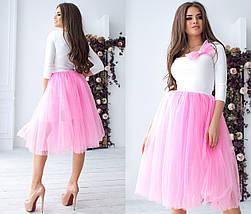 """Нарядный женский костюм-двойка """"Princess"""" с бантиком и пышной юбкой (4 цвета), фото 3"""