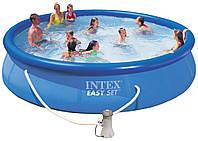 Надувной бассейн Intex 28142, Наливной бассейн  с надувным верхним кольцом + фильтр-насос 396x84 см