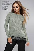 (805) Блуза из трикотажа отделка кружевом Зеленый 48