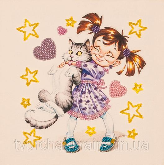 Набор для вышивки бисером Девочка с котом