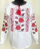 Вишиванка жіноча з червоною вишивкою льон, фото 1