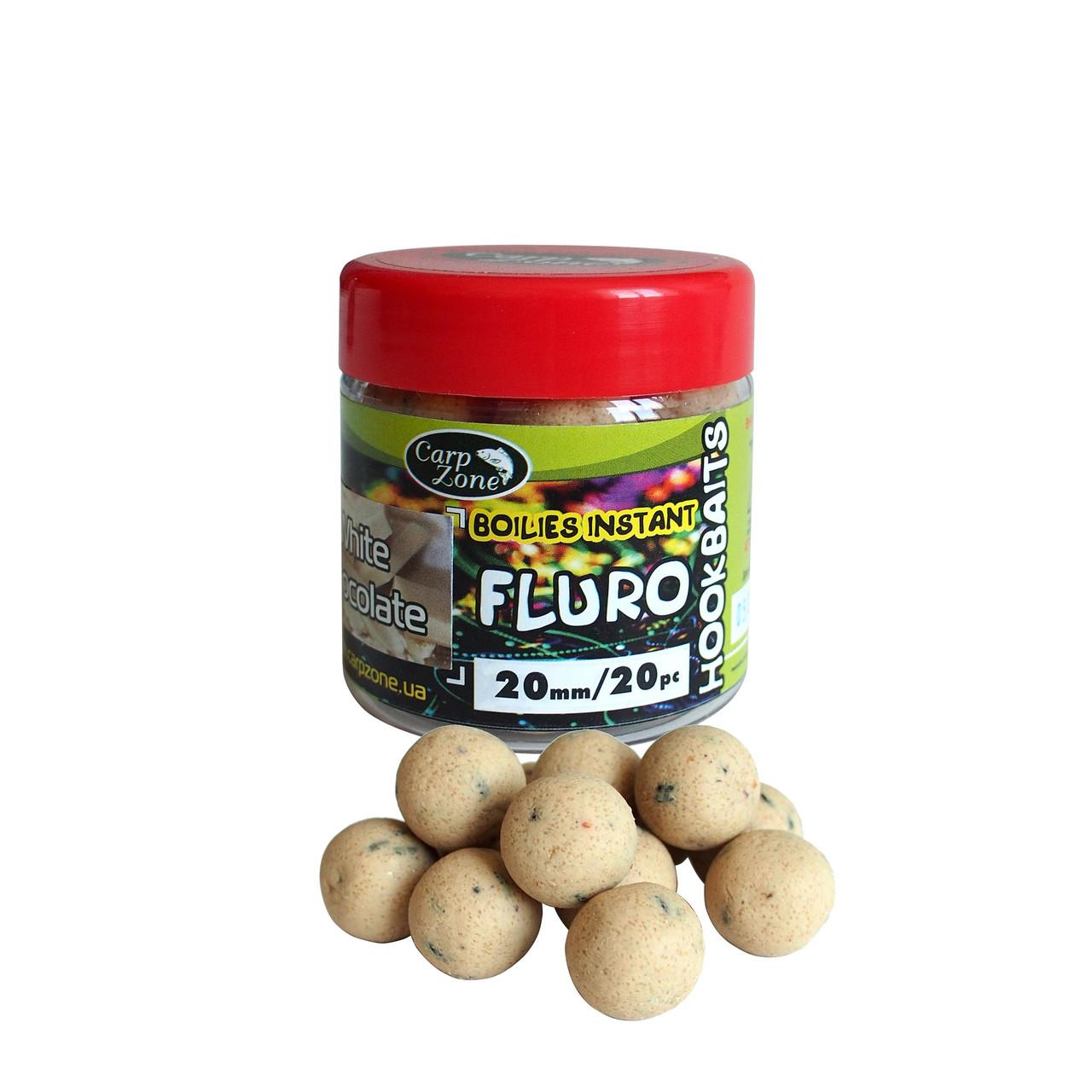 Бойлы насадочные вареные Fluro Boilies Instant Hookbaits White chocolate (Белый Шоколад)