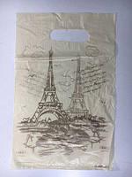 Пакет с прорезной ручкой 20см 30см Париж (100 шт)