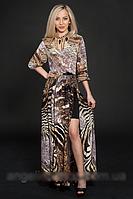 Молодежное шифоновое платье макси, в пол, с короткой юбкой из микромасла, р.44-46 шоколад (432)