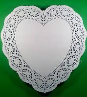 Ажурная салфетка, бумажная, сердце, белая, Ф26,7см 250шт
