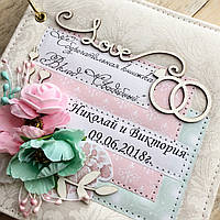 """Свадебная Сберкнижка подарок для молодоженов """"Розовый элегантный"""" с фото страничкой"""