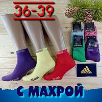 """Носки женские махровые х/б """"Adidas""""  Турция 36-39р. ассорти цветное NJZ-01319"""