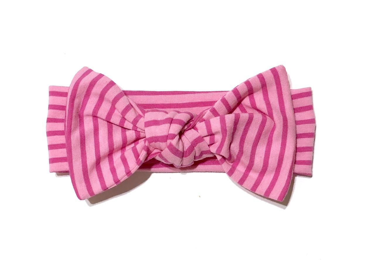 Повязка Andriana Kids розовая в малиновою полоску с бантом