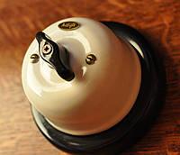 Выключатель поворотного типа перекрестный  белый, фурнитура дерево, бронза