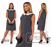 b3754deae62 Прямое платье большого размера с белым воротником fmx8808