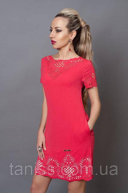 Стильне молодіжне плаття з креп-трикотажу, з кишенями, прикрашене перфорацією р. 44,46 (250)
