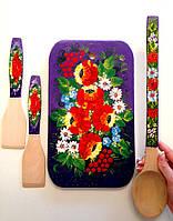Расписной набор для кухни Доска разделочная 33*20 см + 2 лопатки + ложка дерево бук разделочный