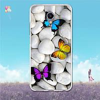 Силиконовый чехол с рисунком для Meizu M5 Note (Бабочки)