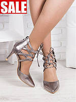Летние туфли (босоножки) серебристые с острым носком на шпильке