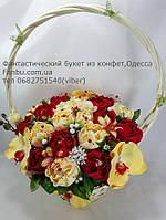 """Яркий красно-желтый букет из конфет """"Императрица""""№21, фото 1"""