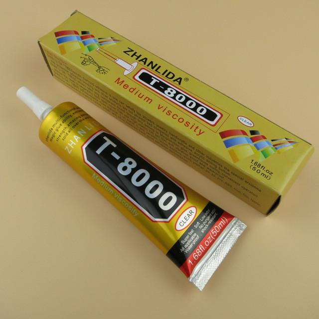 Клей-герметик прозрачный Zhanlinda T 8000, 50 мл, для приклеивания тачскрина, дисплея